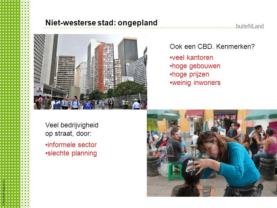 Niet-westerse stad: ongepland Ook een CBD.Kenmerken.