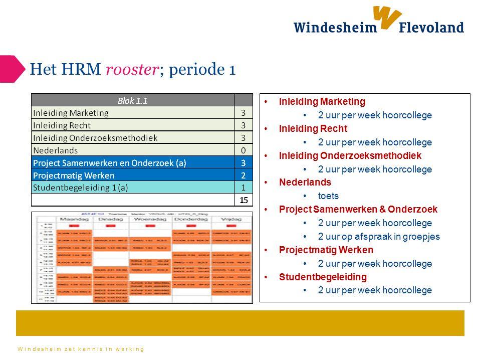 Windesheim zet kennis in werking Het HRM rooster; periode 1 Inleiding Marketing 2 uur per week hoorcollege Inleiding Recht 2 uur per week hoorcollege
