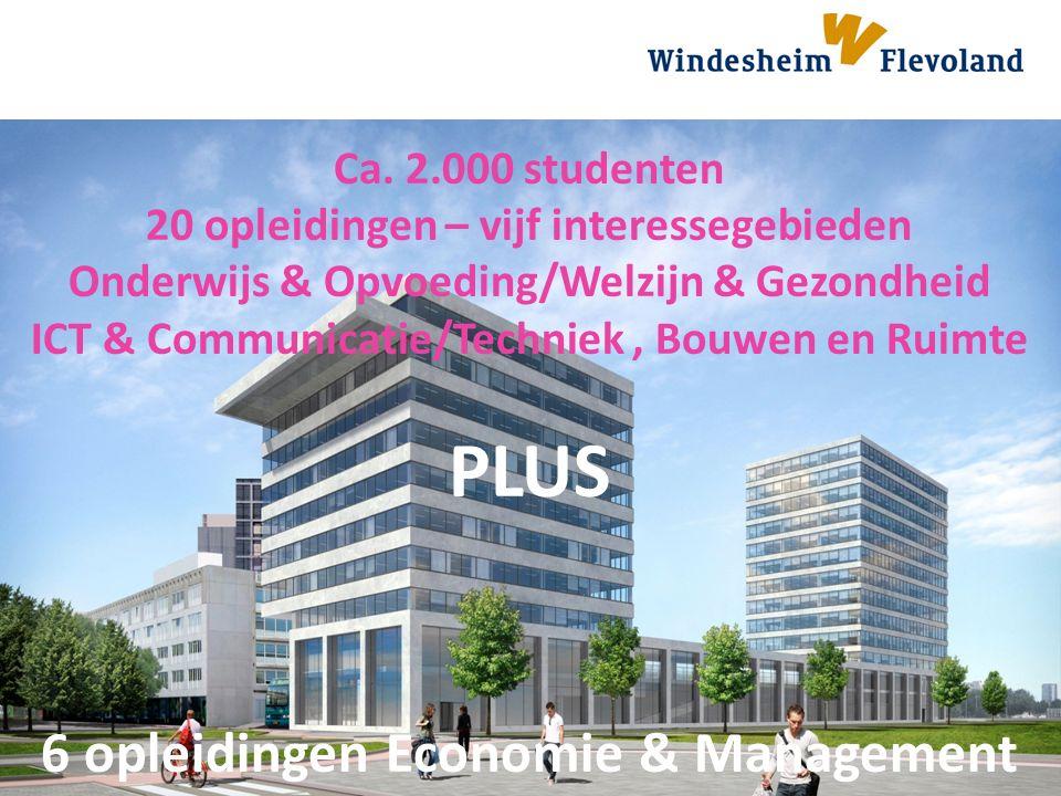 Windesheim zet kennis in werking Ca. 2.000 studenten 20 opleidingen – vijf interessegebieden Onderwijs & Opvoeding/Welzijn & Gezondheid ICT & Communic