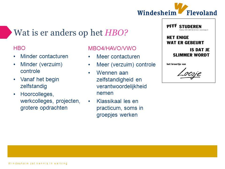 Windesheim zet kennis in werking Wat is er anders op het HBO? MBO4/HAVO/VWO Meer contacturen Meer (verzuim) controle Wennen aan zelfstandigheid en ver
