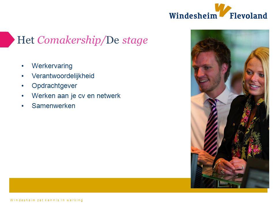 Windesheim zet kennis in werking Het Comakership/De stage Werkervaring Verantwoordelijkheid Opdrachtgever Werken aan je cv en netwerk Samenwerken