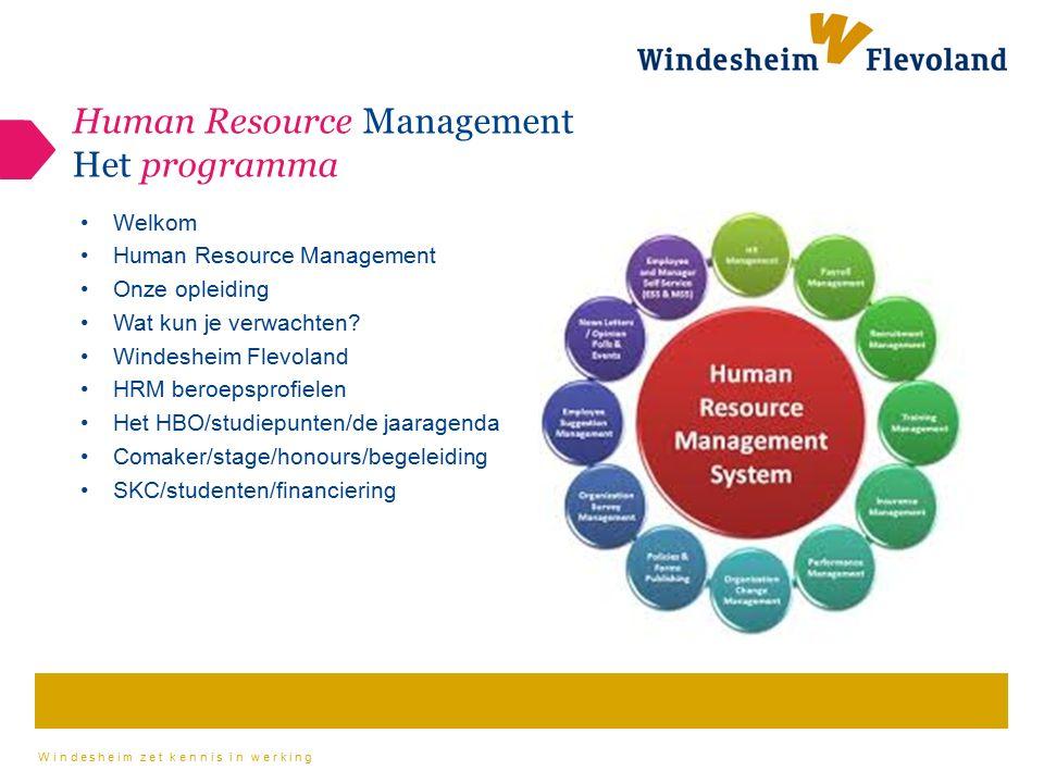 Windesheim zet kennis in werking Welkom Human Resource Management Onze opleiding Wat kun je verwachten? Windesheim Flevoland HRM beroepsprofielen Het