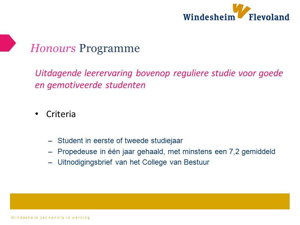 Windesheim zet kennis in werking Honours Programme Uitdagende leerervaring bovenop reguliere studie voor goede en gemotiveerde studenten Criteria –Stu