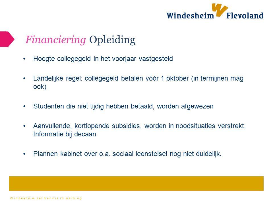 Windesheim zet kennis in werking Financiering Opleiding Hoogte collegegeld in het voorjaar vastgesteld Landelijke regel: collegegeld betalen vóór 1 ok