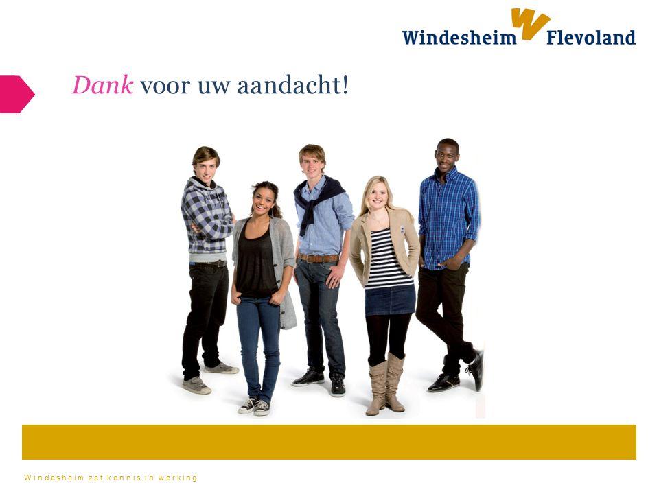 Windesheim zet kennis in werking Dank voor uw aandacht!