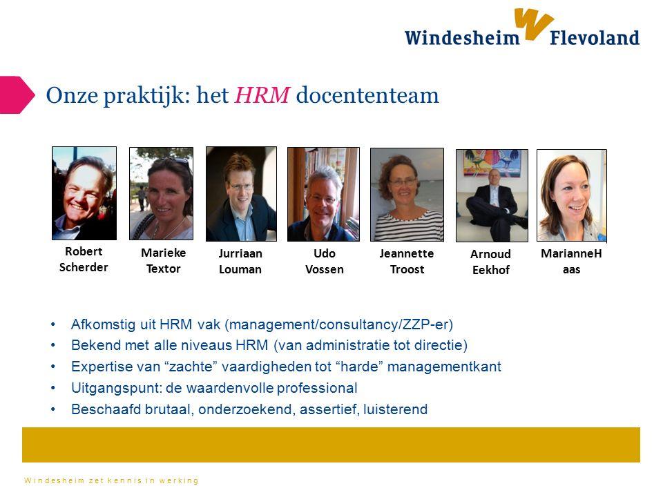 Windesheim zet kennis in werking Onze praktijk: het HRM docententeam Robert Scherder Marieke Textor Jurriaan Louman Udo Vossen Jeannette Troost Arnoud