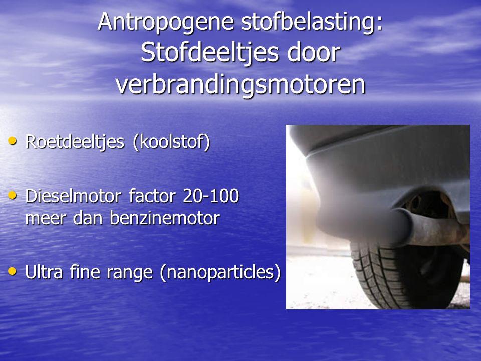 Antropogene stofbelasting: Stofdeeltjes door verbrandingsmotoren Roetdeeltjes (koolstof) Roetdeeltjes (koolstof) Dieselmotor factor 20-100 meer dan benzinemotor Dieselmotor factor 20-100 meer dan benzinemotor Ultra fine range (nanoparticles) Ultra fine range (nanoparticles)