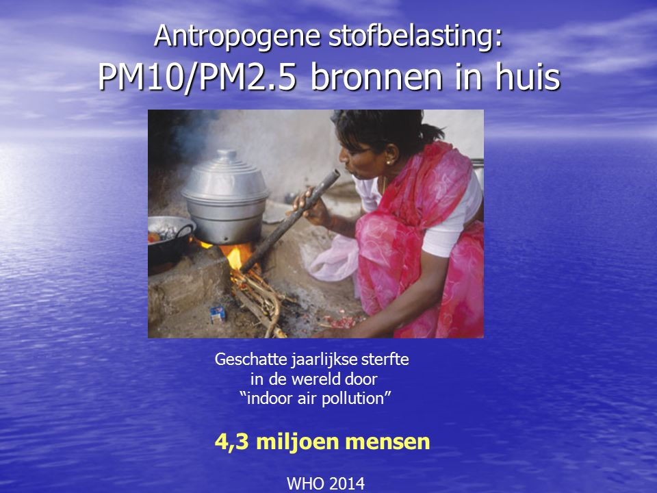 Antropogene stofbelasting: PM10/PM2.5 bronnen in huis Geschatte jaarlijkse sterfte in de wereld door indoor air pollution 4,3 miljoen mensen WHO 2014