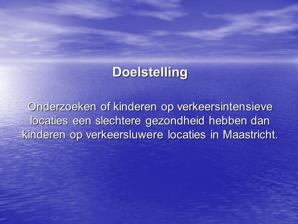 Doelstelling Onderzoeken of kinderen op verkeersintensieve locaties een slechtere gezondheid hebben dan kinderen op verkeersluwere locaties in Maastricht.