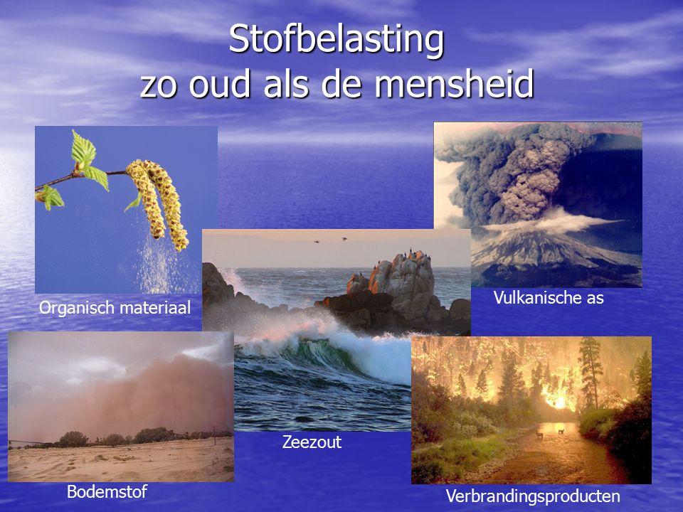 Stofbelasting zo oud als de mensheid Organisch materiaal Zeezout Vulkanische as Verbrandingsproducten Bodemstof