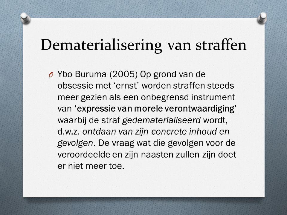 Dematerialisering van straffen O Ybo Buruma (2005) Op grond van de obsessie met 'ernst' worden straffen steeds meer gezien als een onbegrensd instrument van 'expressie van morele verontwaardiging' waarbij de straf gedematerialiseerd wordt, d.w.z.