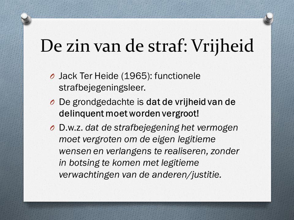 De zin van de straf: Vrijheid O Jack Ter Heide (1965): functionele strafbejegeningsleer.