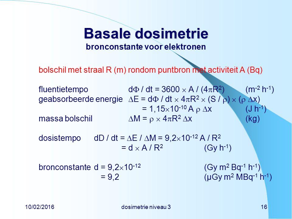 10/02/2016dosimetrie niveau 316 Basale dosimetrie Basale dosimetrie bronconstante voor elektronen bolschil met straal R (m) rondom puntbron met activi