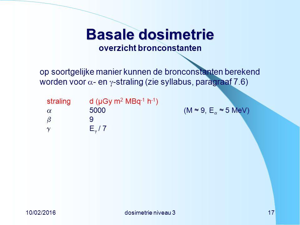 10/02/2016dosimetrie niveau 317 Basale dosimetrie Basale dosimetrie overzicht bronconstanten op soortgelijke manier kunnen de bronconstanten berekend worden voor  - en  -straling (zie syllabus, paragraaf 7.6) stralingd (µGy m 2 MBq -1 h -1 )  5000 (M  9, E   5 MeV)  9  E  / 7