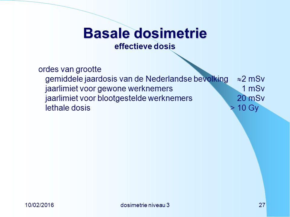 10/02/2016dosimetrie niveau 327 Basale dosimetrie Basale dosimetrie effectieve dosis ordes van grootte gemiddele jaardosis van de Nederlandse bevolking  2 mSv jaarlimiet voor gewone werknemers 1 mSv jaarlimiet voor blootgestelde werknemers20 mSv lethale dosis> 10 Gy