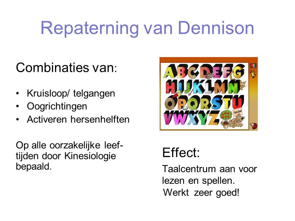 Repaterning van Dennison Combinaties van : Kruisloop/ telgangen Oogrichtingen Activeren hersenhelften Op alle oorzakelijke leef- tijden door Kinesiolo