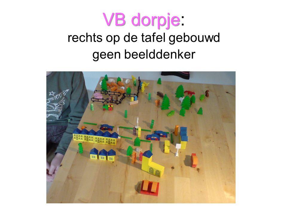VB dorpje VB dorpje: rechts op de tafel gebouwd geen beelddenker