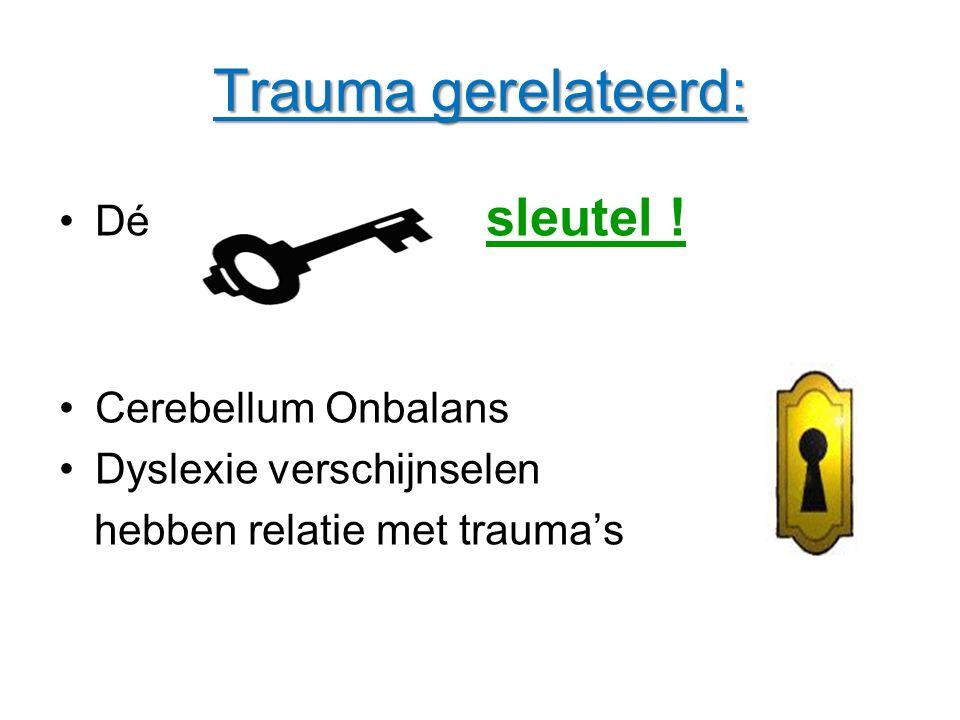 Trauma gerelateerd: Dé sleutel sleutel ! Cerebellum Onbalans Dyslexie verschijnselen hebben relatie met trauma's