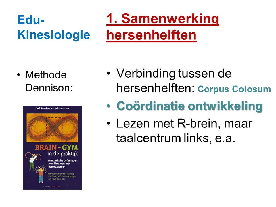 Edu- Kinesiologie 1. Samenwerking hersenhelften Verbinding tussen de hersenhelften: Corpus Colosum Coördinatie ontwikkelingCoördinatie ontwikkeling Le