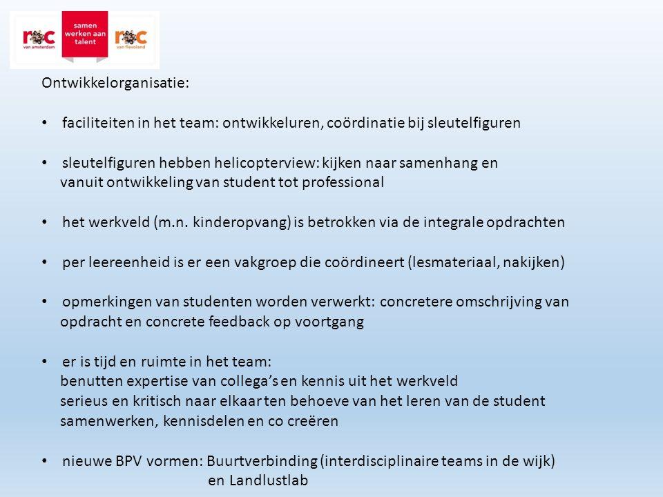 Ontwikkelorganisatie: faciliteiten in het team: ontwikkeluren, coördinatie bij sleutelfiguren sleutelfiguren hebben helicopterview: kijken naar samenh