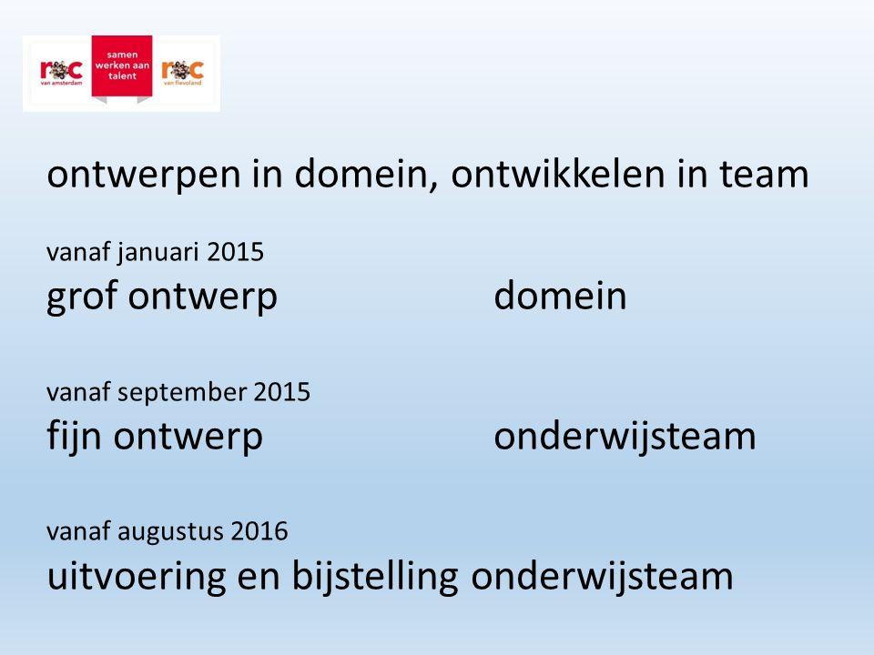 ontwerpen in domein, ontwikkelen in team vanaf januari 2015 grof ontwerp domein vanaf september 2015 fijn ontwerp onderwijsteam vanaf augustus 2016 uitvoering en bijstelling onderwijsteam