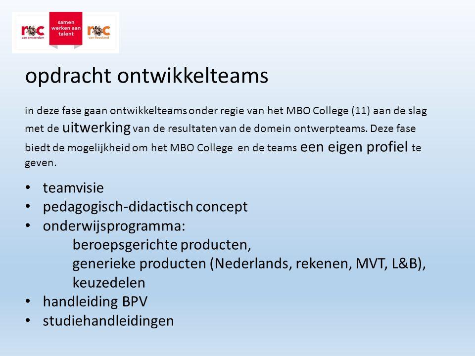 opdracht ontwikkelteams in deze fase gaan ontwikkelteams onder regie van het MBO College (11) aan de slag met de uitwerking van de resultaten van de domein ontwerpteams.