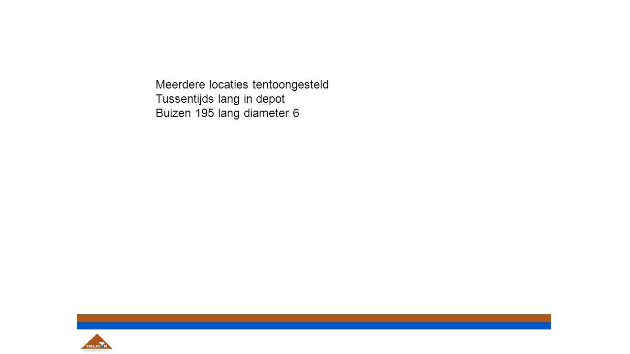 Meerdere locaties tentoongesteld Tussentijds lang in depot Buizen 195 lang diameter 6