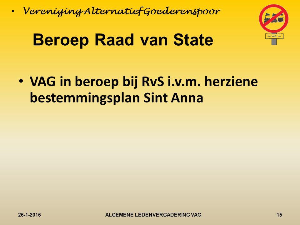 Beroep Raad van State VAG in beroep bij RvS i.v.m.