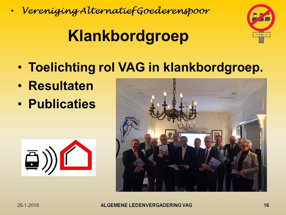 Klankbordgroep Toelichting rol VAG in klankbordgroep.