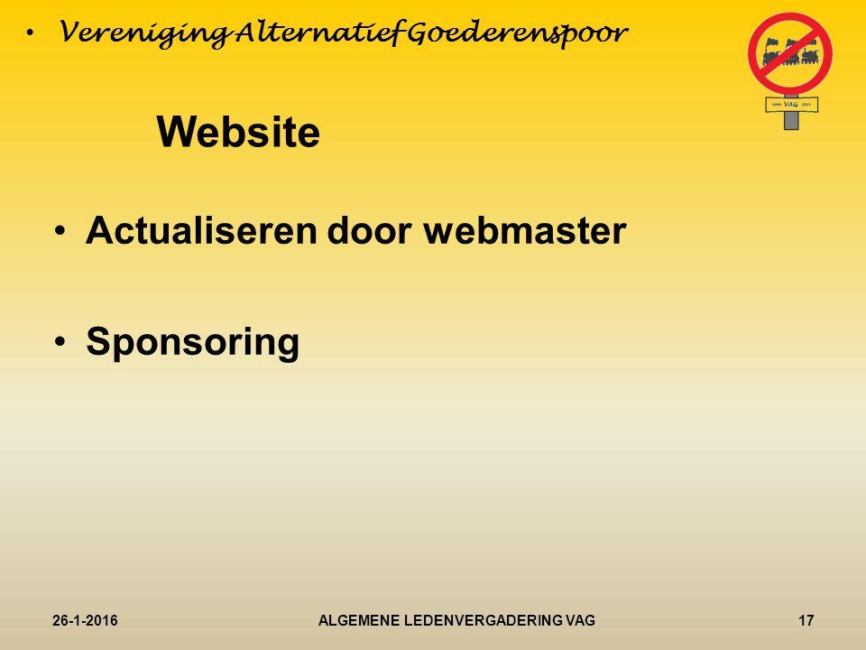 Actualiseren door webmaster Sponsoring 26-1-201617ALGEMENE LEDENVERGADERING VAG Vereniging Alternatief Goederenspoor Website