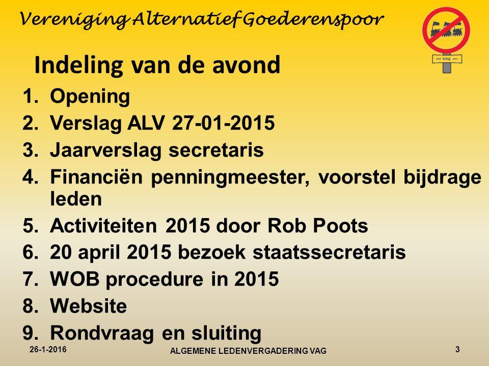 De voorzitter aan het woord 26-1-20164ALGEMENE LEDENVERGADERING VAG Vereniging Alternatief Goederenspoor
