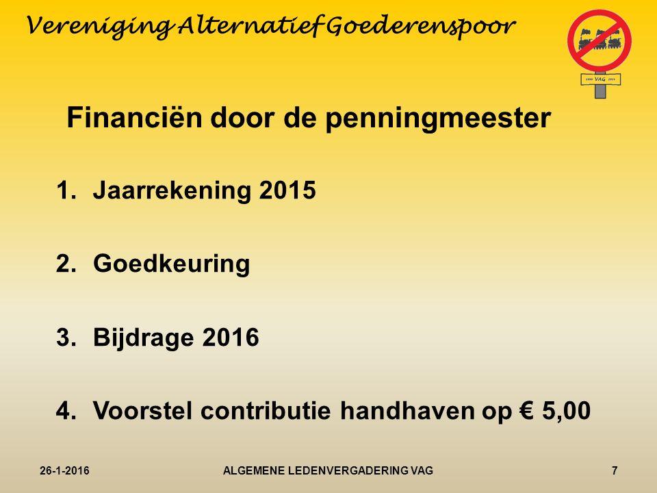 Jaarrekening 26-1-20168ALGEMENE LEDENVERGADERING VAG Vereniging Alternatief Goederenspoor