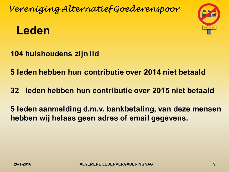 Leden 26-1-20169ALGEMENE LEDENVERGADERING VAG Vereniging Alternatief Goederenspoor 104 huishoudens zijn lid 5 leden hebben hun contributie over 2014 niet betaald 32 leden hebben hun contributie over 2015 niet betaald 5 leden aanmelding d.m.v.