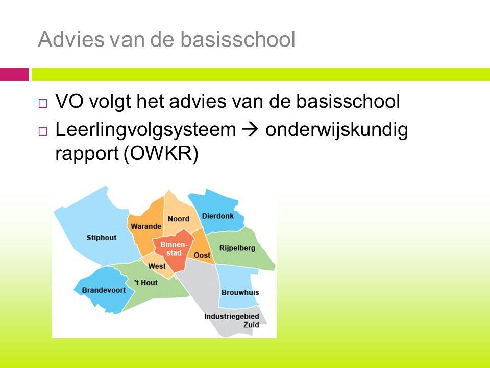  VO volgt het advies van de basisschool  Leerlingvolgsysteem  onderwijskundig rapport (OWKR) Advies van de basisschool