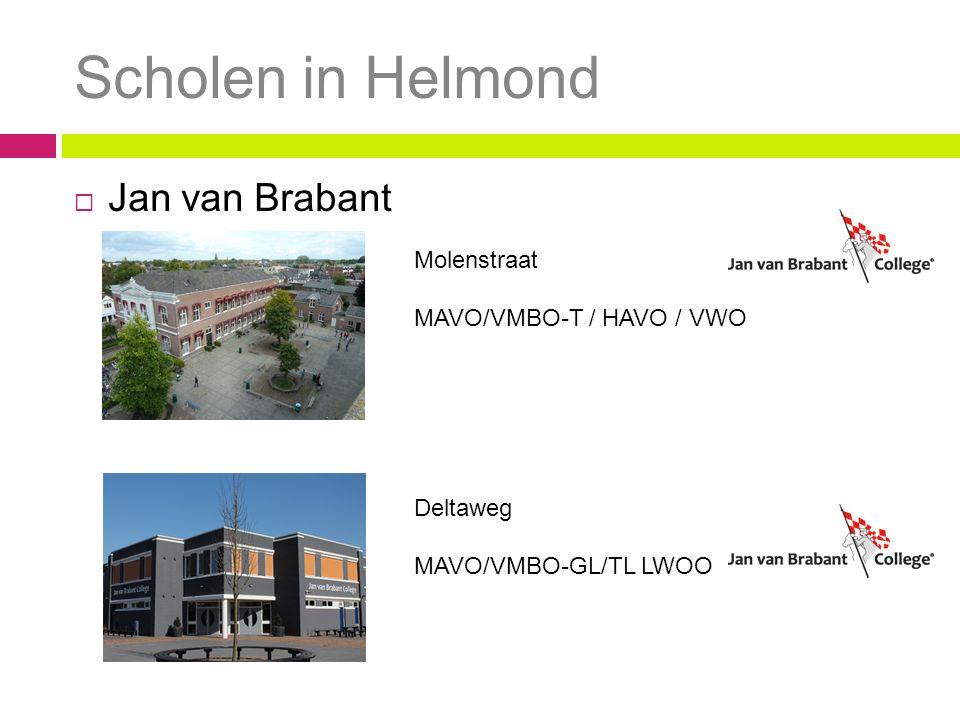 Scholen in Helmond  Jan van Brabant Molenstraat MAVO/VMBO-T / HAVO / VWO Deltaweg MAVO/VMBO-GL/TL LWOO