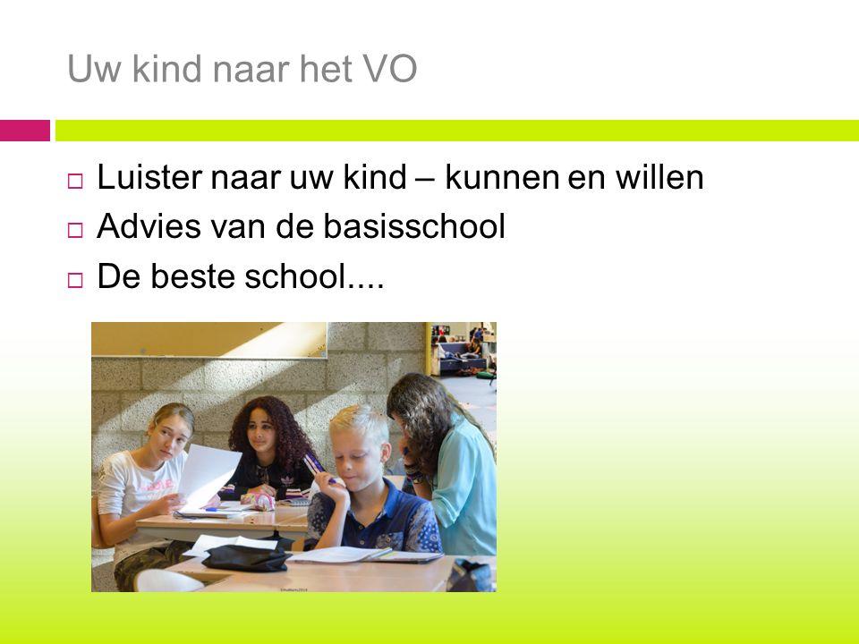 Uw kind naar het VO  Luister naar uw kind – kunnen en willen  Advies van de basisschool  De beste school....