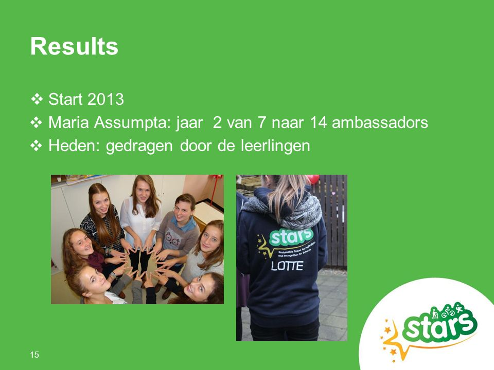Results  Start 2013 ❖ Maria Assumpta: jaar 2 van 7 naar 14 ambassadors ❖ Heden: gedragen door de leerlingen 15