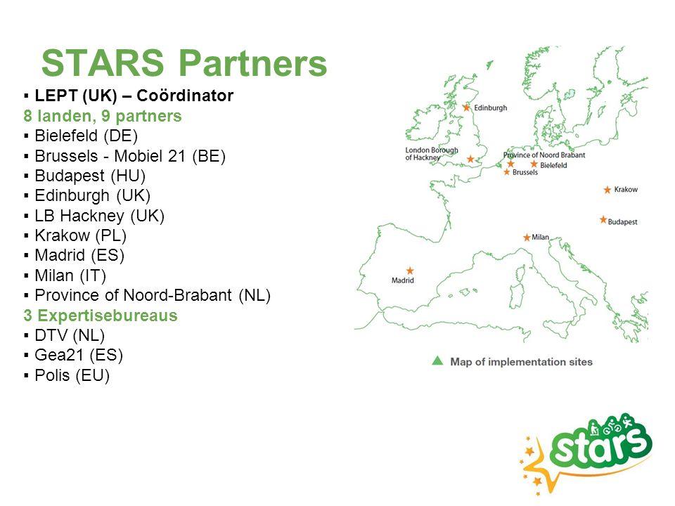 Een accreditatiesyteem voor scholen Gebaseerd op bestaande en geteste programma's Verminderen van autoverplaatsingen naar school Verhogen van actief verplaatsingsgedrag, voornamelijk fietsen Accreditatie voor lagere scholen Online Bronzen, zilveren en gouden level kan behaald worden door uitgevoerde acties Ondersteund door een STARS-adviseur Peer-to-peer engagement voor secundaire scholen STARS-ambassadeurs Acties door en voor leerlingen, ondersteund door STARS- adviseur STARS Cycle Challenge, online tool