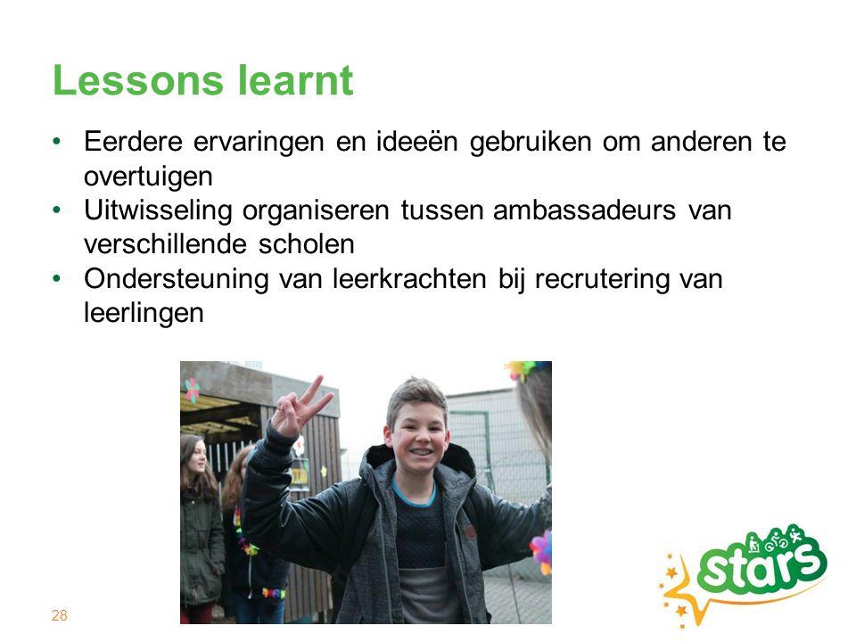 Lessons learnt Eerdere ervaringen en ideeën gebruiken om anderen te overtuigen Uitwisseling organiseren tussen ambassadeurs van verschillende scholen Ondersteuning van leerkrachten bij recrutering van leerlingen 28
