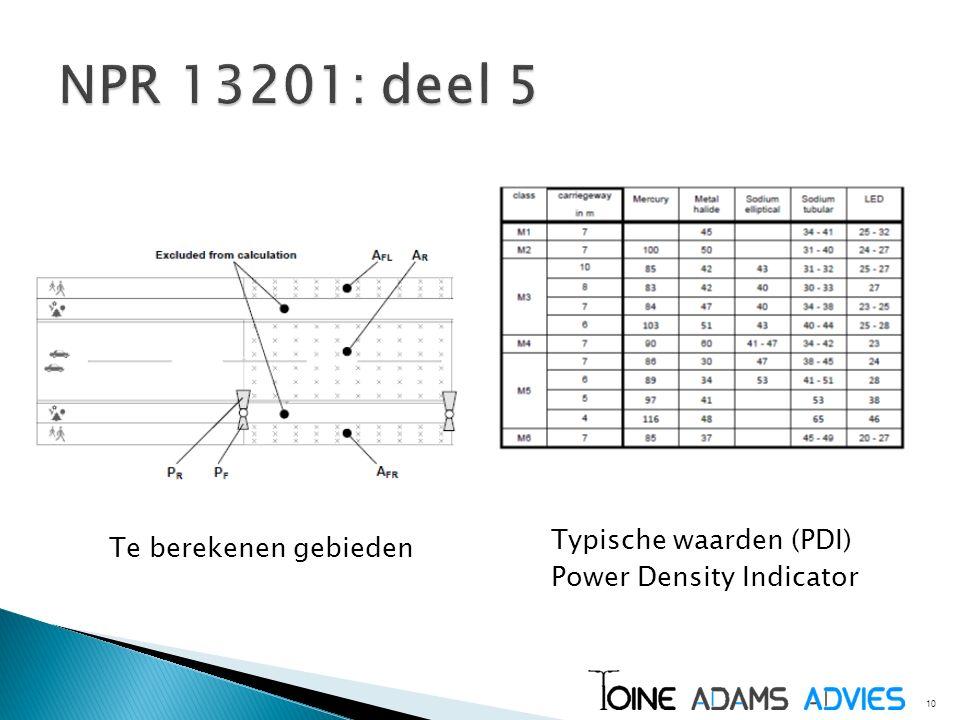 10 Te berekenen gebieden Typische waarden (PDI) Power Density Indicator