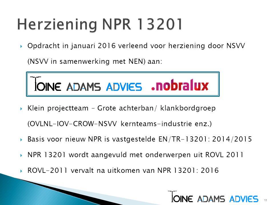  Opdracht in januari 2016 verleend voor herziening door NSVV (NSVV in samenwerking met NEN) aan:  Klein projectteam – Grote achterban/ klankbordgroe