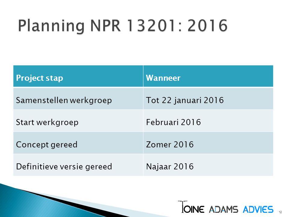 12 Project stapWanneer Samenstellen werkgroepTot 22 januari 2016 Start werkgroepFebruari 2016 Concept gereedZomer 2016 Definitieve versie gereedNajaar