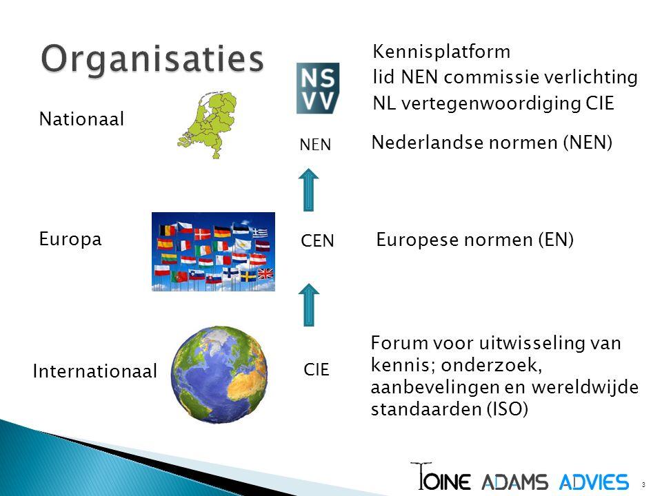 3 Nationaal Kennisplatform lid NEN commissie verlichting NL vertegenwoordiging CIE Europa Internationaal NEN CEN CIE Nederlandse normen (NEN) Europese