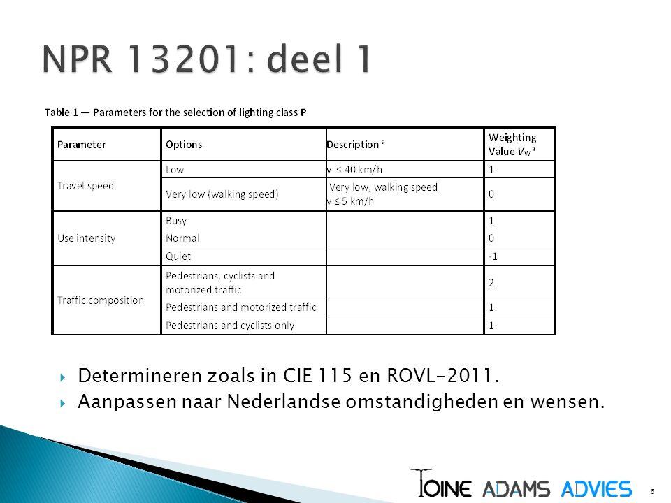 6  Determineren zoals in CIE 115 en ROVL-2011.  Aanpassen naar Nederlandse omstandigheden en wensen.
