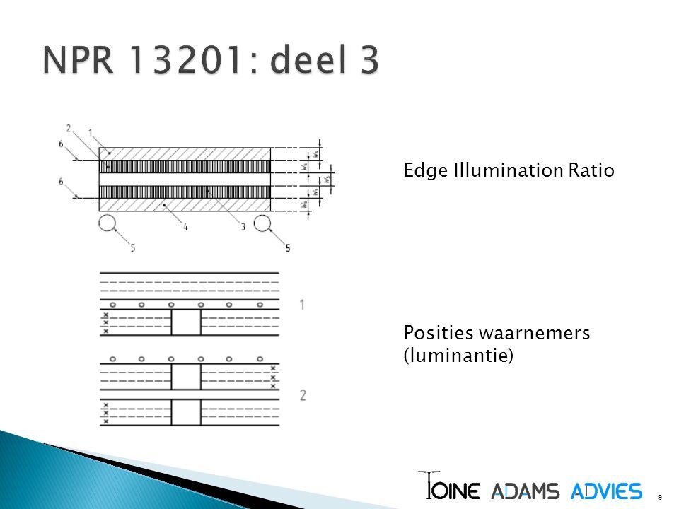 9 Edge Illumination Ratio Posities waarnemers (luminantie)