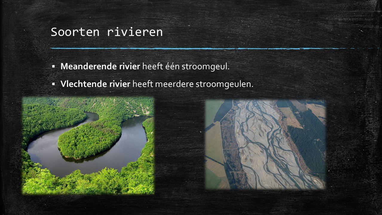 Soorten rivieren  Meanderende rivier heeft één stroomgeul.  Vlechtende rivier heeft meerdere stroomgeulen.