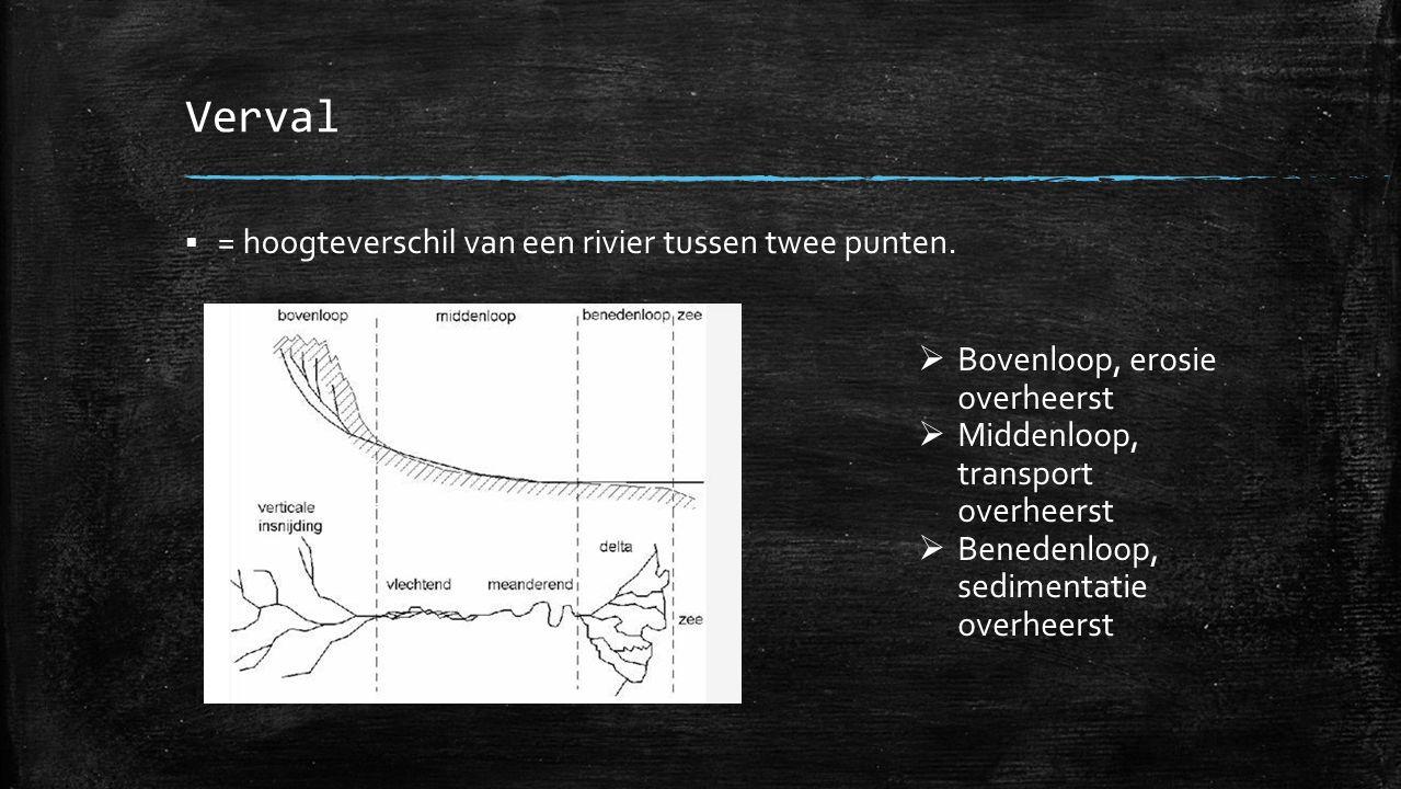 Verval  = hoogteverschil van een rivier tussen twee punten.  Bovenloop, erosie overheerst  Middenloop, transport overheerst  Benedenloop, sediment