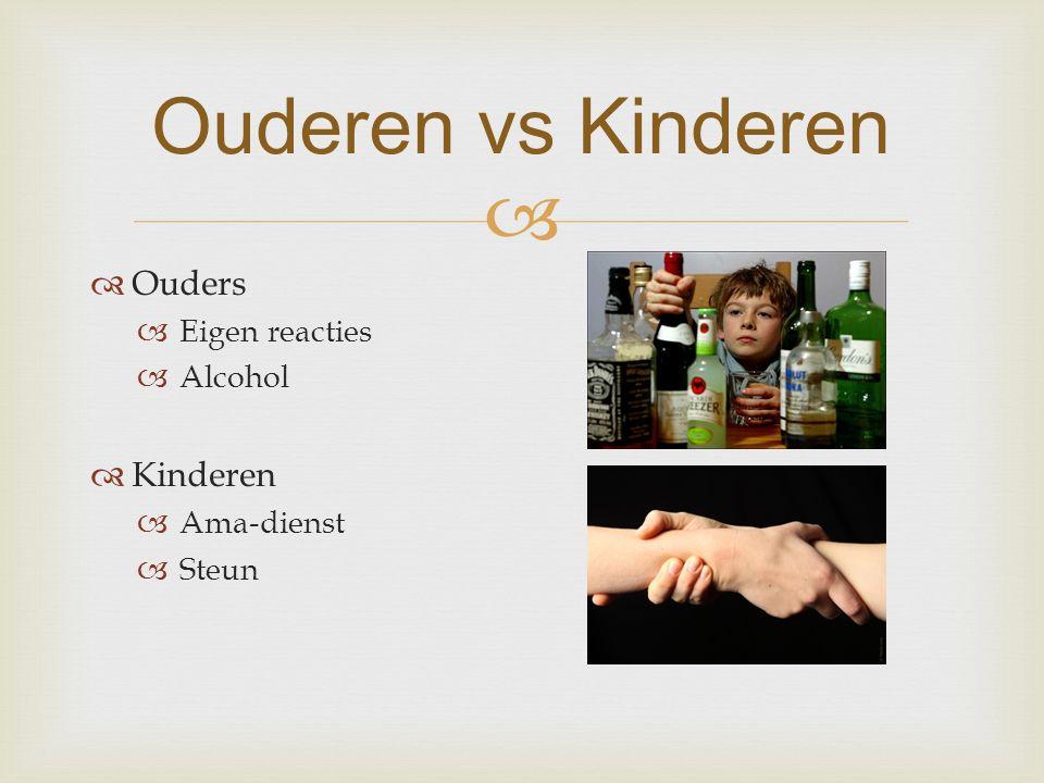   Ouders  Eigen reacties  Alcohol  Kinderen  Ama-dienst  Steun Ouderen vs Kinderen