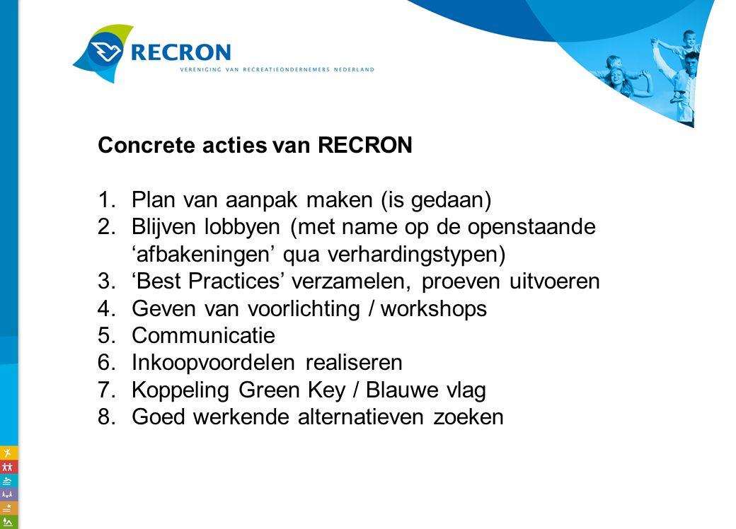 Concrete acties van RECRON 1.Plan van aanpak maken (is gedaan) 2.Blijven lobbyen (met name op de openstaande 'afbakeningen' qua verhardingstypen) 3.'Best Practices' verzamelen, proeven uitvoeren 4.Geven van voorlichting / workshops 5.Communicatie 6.Inkoopvoordelen realiseren 7.Koppeling Green Key / Blauwe vlag 8.Goed werkende alternatieven zoeken