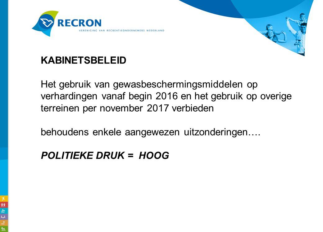 KABINETSBELEID Het gebruik van gewasbeschermingsmiddelen op verhardingen vanaf begin 2016 en het gebruik op overige terreinen per november 2017 verbieden behoudens enkele aangewezen uitzonderingen….